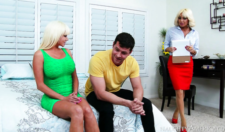 Young guy fucked two juicy neighbors at the age of