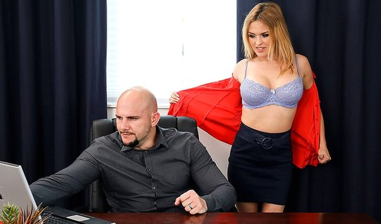 Horny Secretary seduces to hard fucking bald boss in office