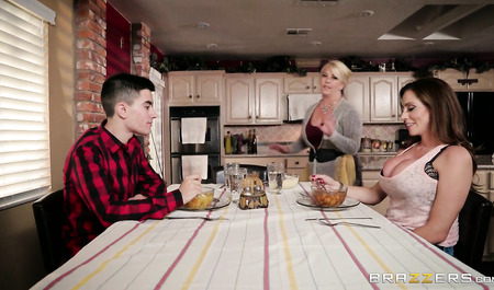 Young boy fucked girlfriend mother right in the kitchen