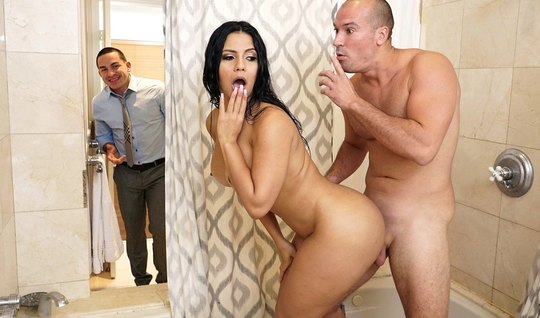 Man fuck Busty neighbor in the bathroom while her husband was in the other room
