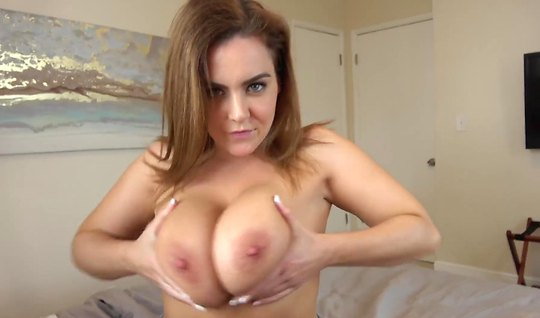 Girlfriend with big milkings sucks dick on camera in first person