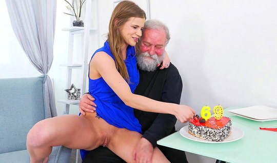The old man had brought home a young brunette and fucked her on the couch