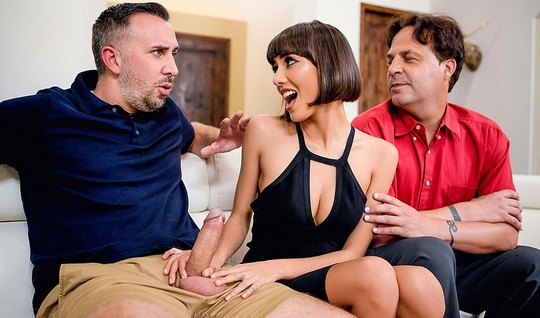 Keiran Lee visiting other cancer tore his titty wife on the home sofa
