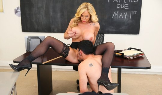 A student in the office fucking with sexy and Busty teacher in stockings