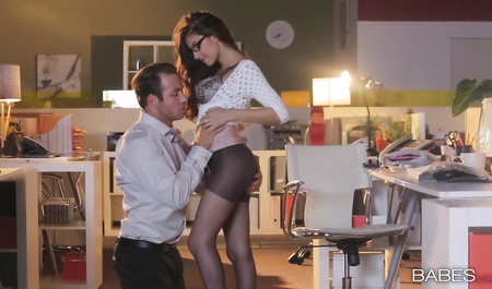 Tender sex with a Busty Secretary in office after work