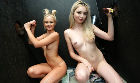Skinny girls in a closed room staged by blacks group porn