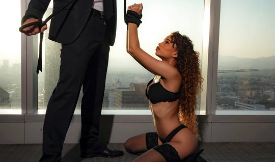 Docile mulatto in stockings today plays the role of an obedient slave and tender