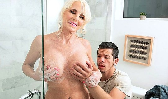 Mature lady after shower having sex with her stepson