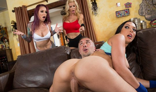 Three Busty lady jumping on big dick of happy lad