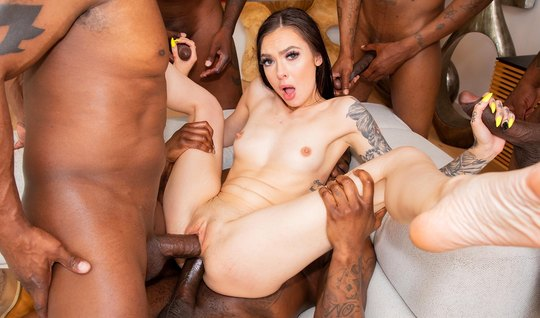 A crowd of anxious niggers had arranged for a brunette double penetration