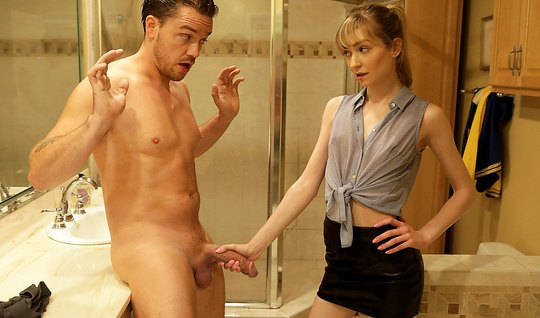 The young man right in bathroom up for some sex with a skinny beauty