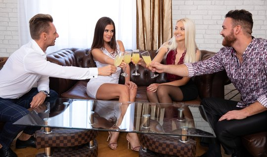 Two girls in stockings and the boys had on the same couch group sex SV