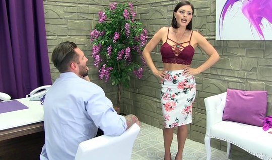 Brunette with big milkings in the office having sex with a bearded assistant