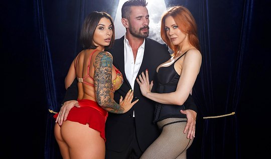 Tattooed brunette and redhead damsel love group sex