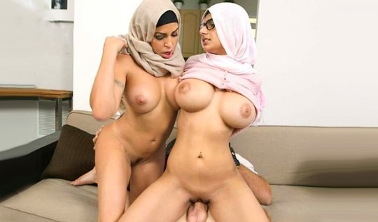 Two Arab women with big milkings love group Bang with one dick