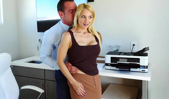 Blonde Secretary in office substitutes ass for anal sex