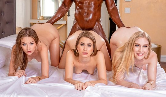 Three young beauty fills pussy pose a cancer for a foursome with a black man