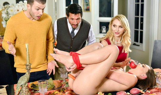 The guy with the girlfriend and his mom and dad arranged in living room group Orgy
