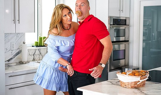 Stepmom with big Tits asked her stepson to fuck her hole