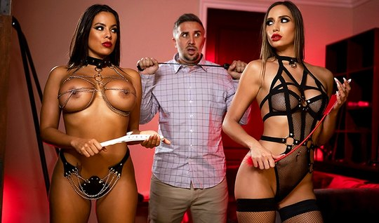 The guy is surrounded by dominant Babes with big milkings