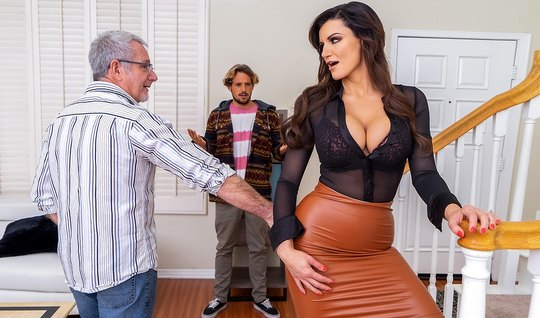 The mother cheats on her husband with his young and hot stepson