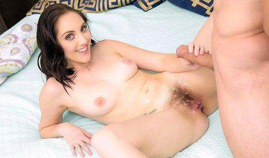 Woman with hairy cunt was allowed to fuck yourself in the ass and fill her with cum