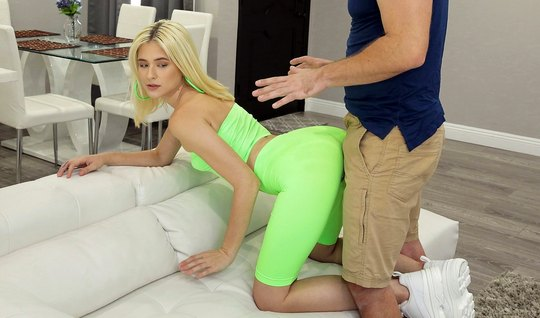 Blonde in tights pose a cancer peddles her pussy to love