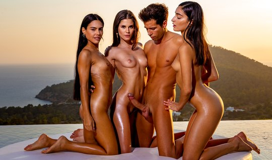 Three beautiful brunettes at sunset gave the boy group Orgy