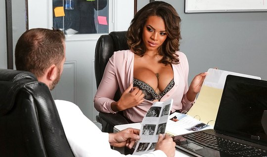 Tattooed mulatto with big milkings right in the office fucking with a boy