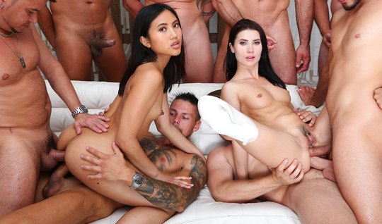 Asian and brunette participate in an Orgy with double penetration