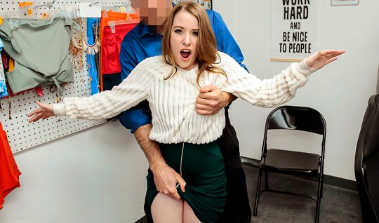 The young woman in the office jumps on the member of the guard and cums from sex