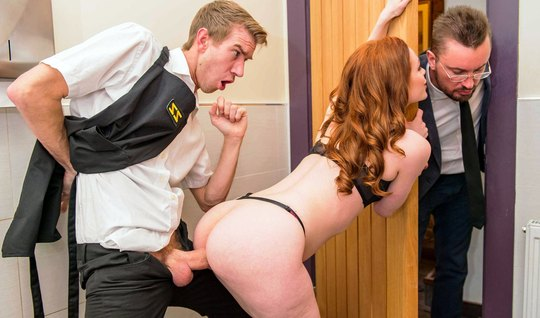 Redhead slut behind your husbands back has substituted ass to the young lover