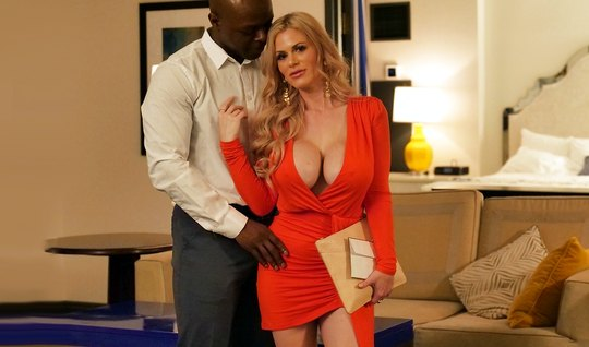Mommy with big milkings does not refuse whipping with inflated Negro