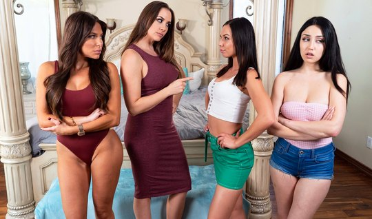 Orgy lesbians on the bed ended languid moans and orgasm