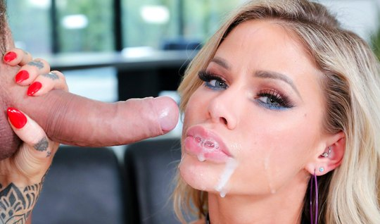 Blonde Masturbation after jumping on a cock and cums from anal