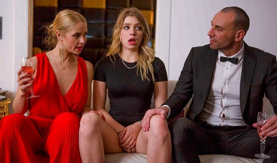 A man watching as two of his mistresses rubbing Clit on the floor