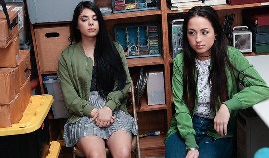 Two young brunettes undressed in front of the guy in the office to engage in group sex