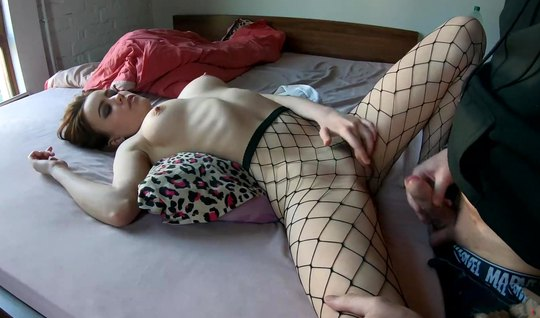 Russian young girl in stockings showed the guy super homemade porn