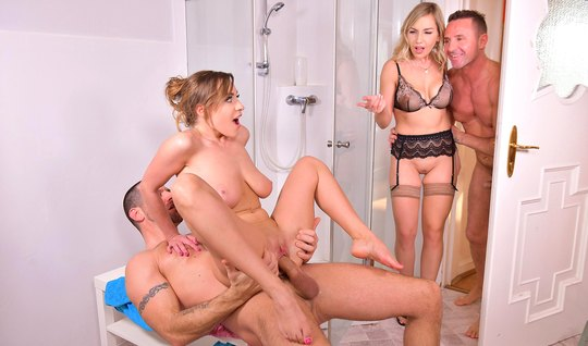 Two couples of Swingers did not deny the guys in a Threesome with double penetration