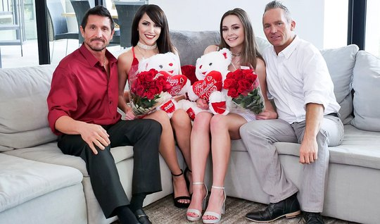 Two couples of Swingers during the Valentines Day arranged a group date