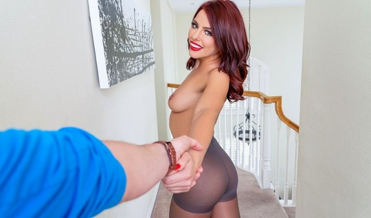 Girl in stockings spreads her slim legs for sex in the first person