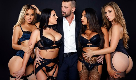 Lesbians in stockings have invited one man to group sex