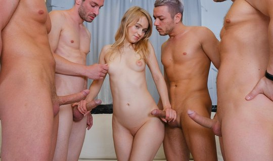 Skinny Russian young woman involved in an Orgy and gets double penetration
