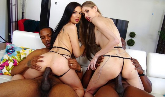 Tattooed mistress on a white sofa spread her legs for group anal with blacks