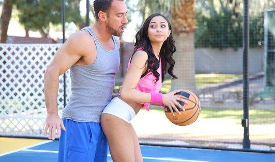 Athlete Fucks a dark-haired brunette during a basketball