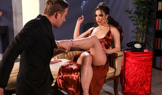 Hoesty guy from Brazzers lifted the red dress on the brunette and shoved balls deep fat cock in her