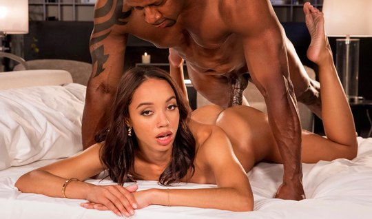 The Negro poured the elastic ass of the mulatto with massage oil and fucked for a long time in the stretched hole
