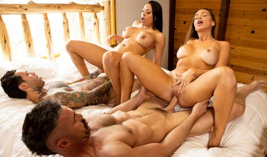Two guys seduced beauties from Brazzers and enjoyed a hard gangbang