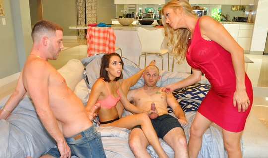 Moms swap dicky husbands and fuck up a swinger orgy on a big couch