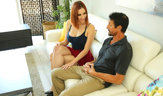 The redhead showed her neighbor's husband big milkings and took him to bed to fuck sweetly